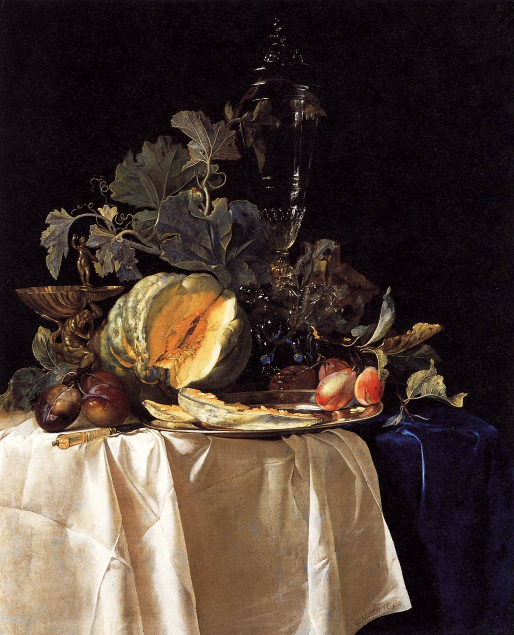 Still Life with Fruit and Crystal Vase 1652