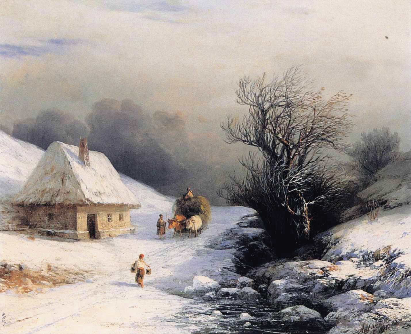 Little Russian Ox Cart in Winter