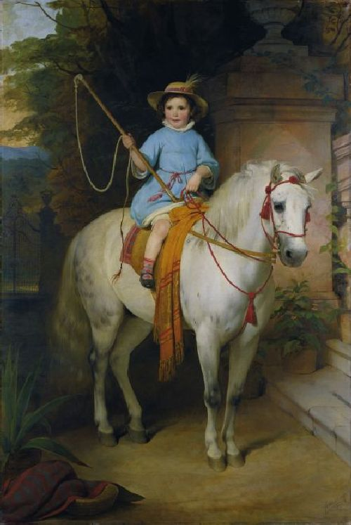 Portrait of the Future Prince Johann II von Liechtenstein on a White Pony