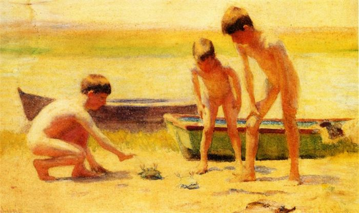 Boys Playing with Crabs