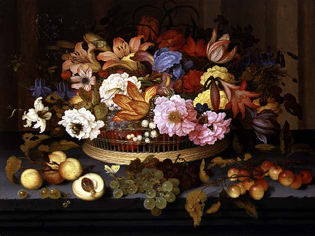 Still Life of Fruit and a Basket of Flowers 1623