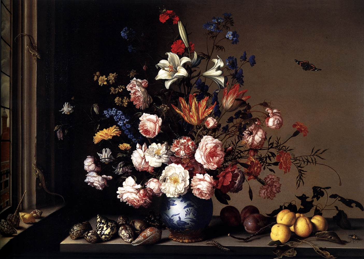 Vase of Flowers by a Window 1650-57