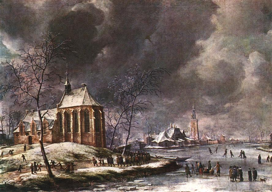 Village of Nieukoop in Winter with Child Funeral