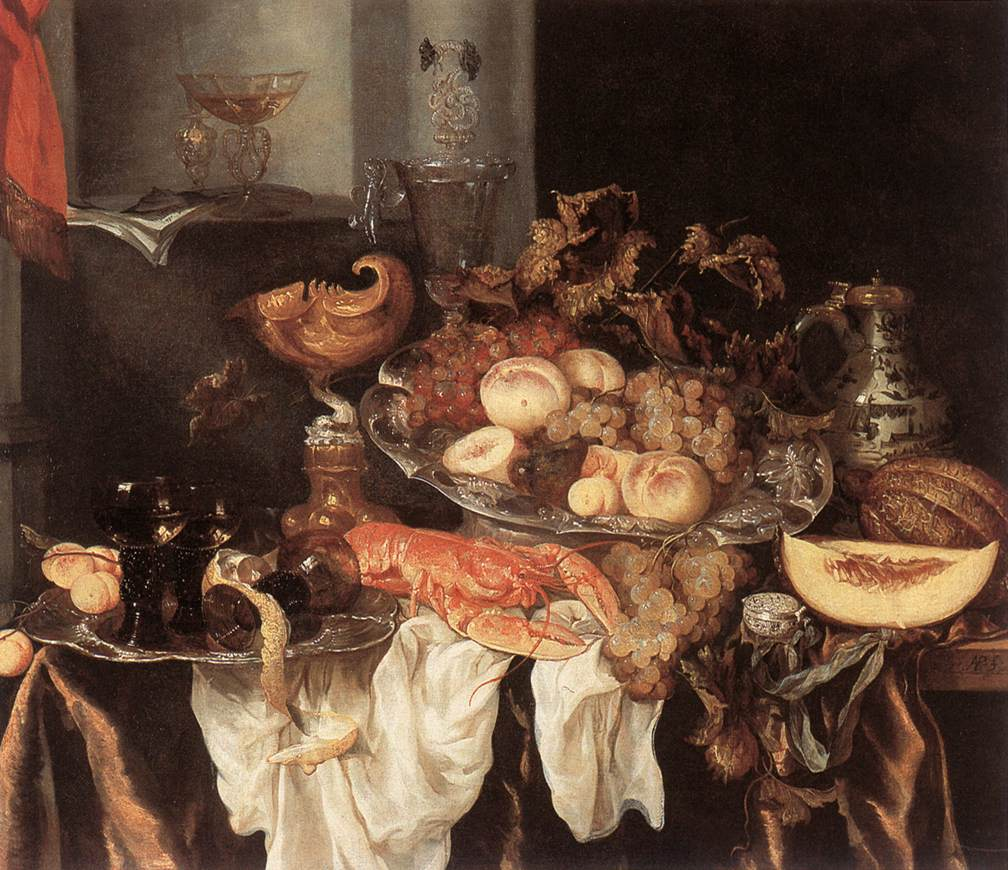 oosterwyck vanitas In his 1642 painting, vanitas still life with flowers and skull, adriaen van utrecht depicts a multitude of objects, including but not limited to a vase of flowers, a human skull, small gold and silver coins, two glass vases, and a book.