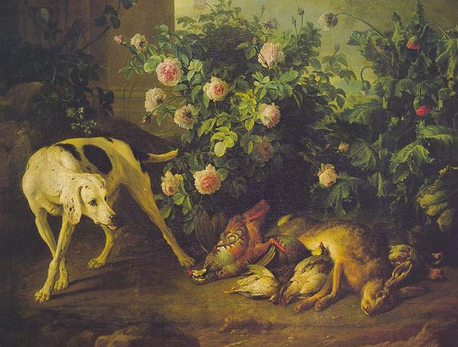 Dog Guarding Game Near A Rosebush