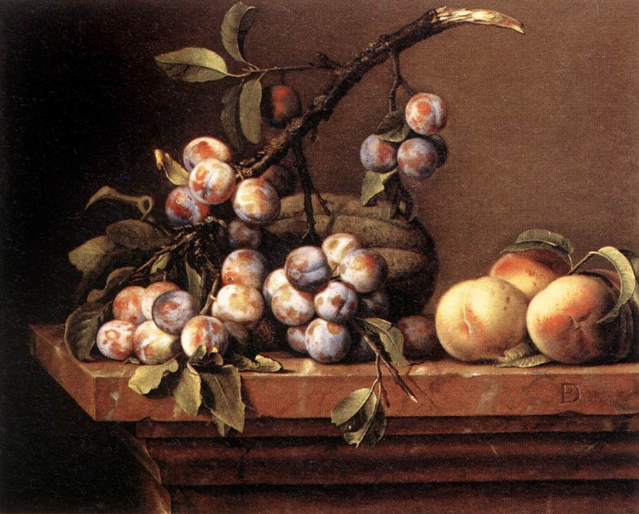 Plums and Peaches on a Table