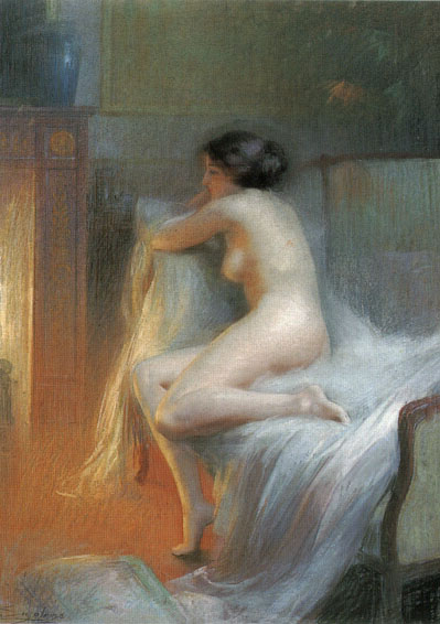 A Nude Reclining by the Fire