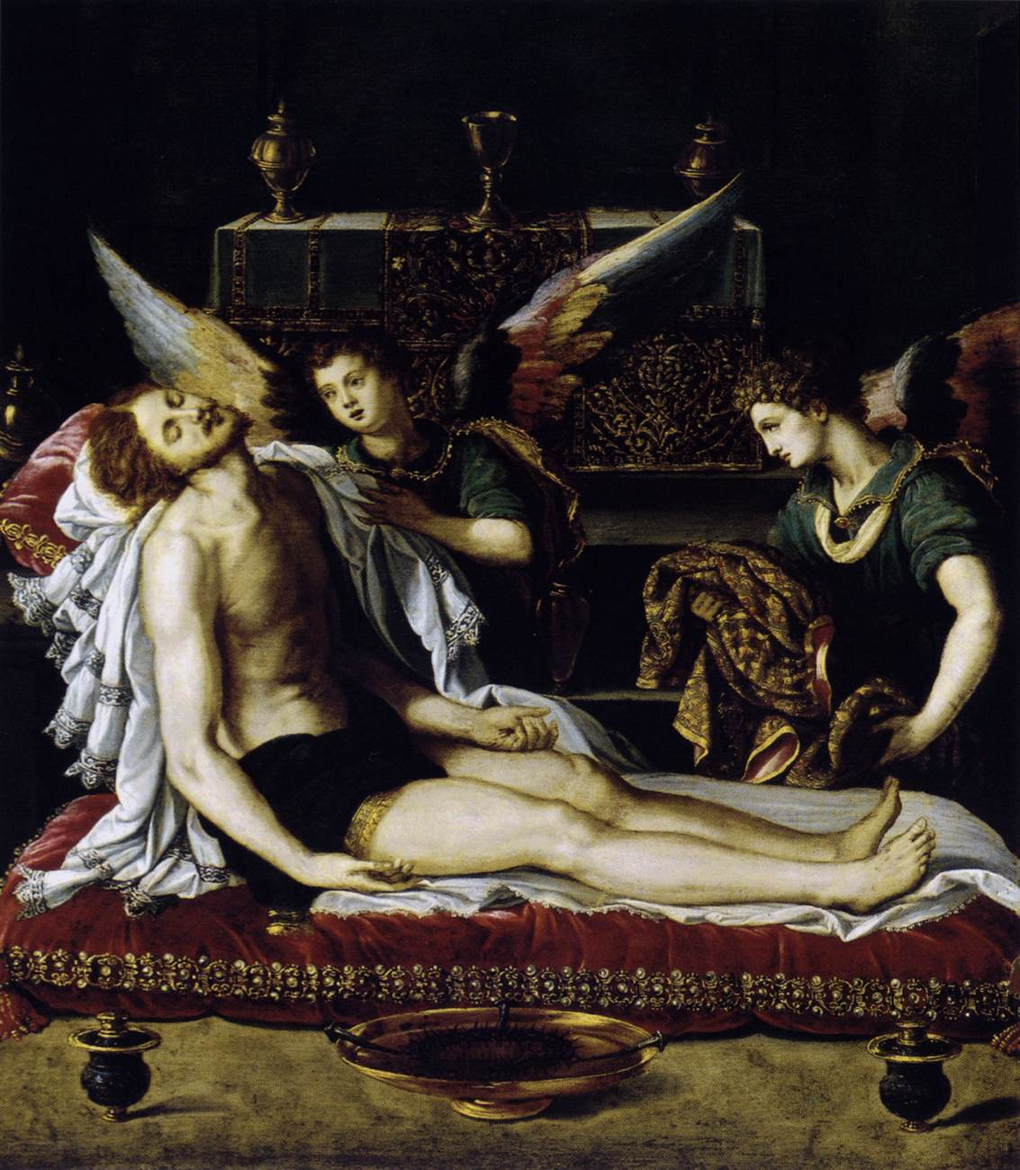 ALLORI, Alessandro The Body of Christ with Two Angels
