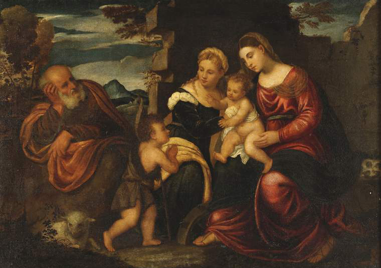 Holy Family with the infant St John Baptist and St Catherine