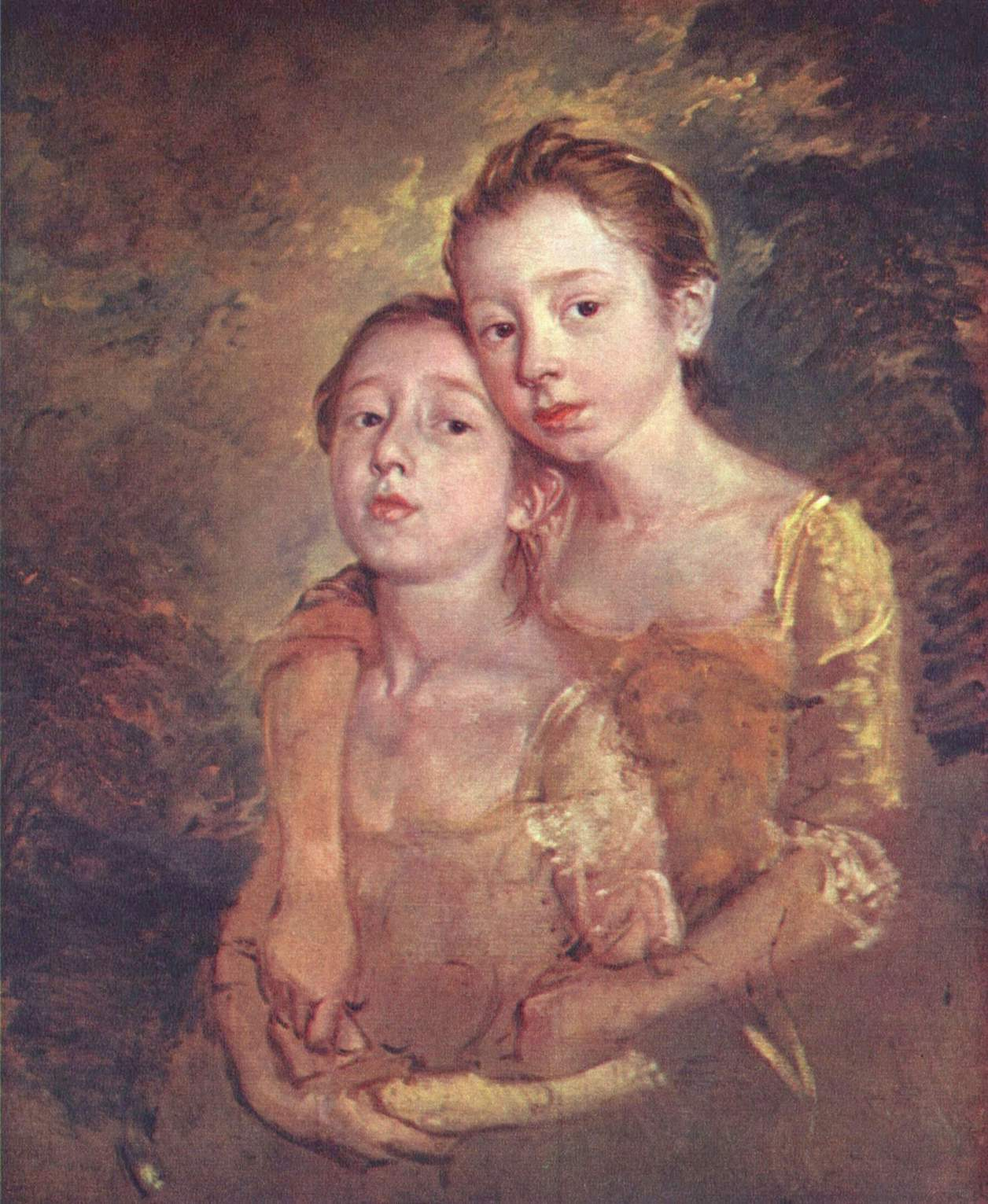 Two Daughters with a Cat