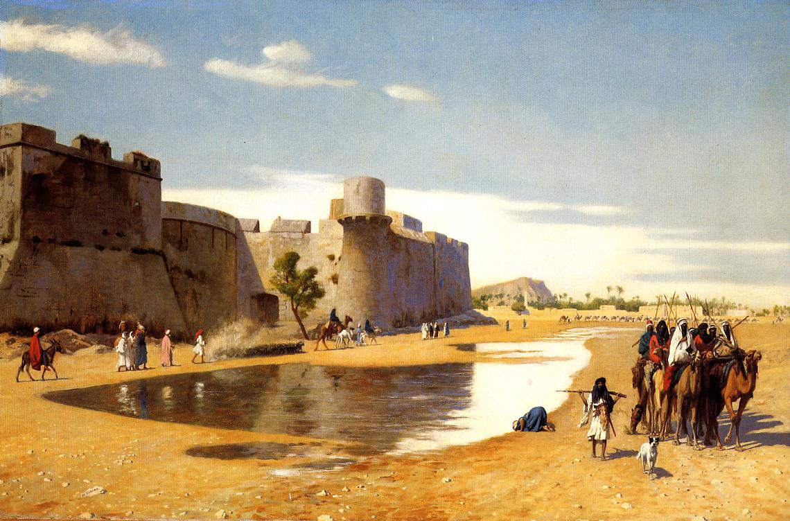 An Arab Caravan outside a Fortified Town, Egypt