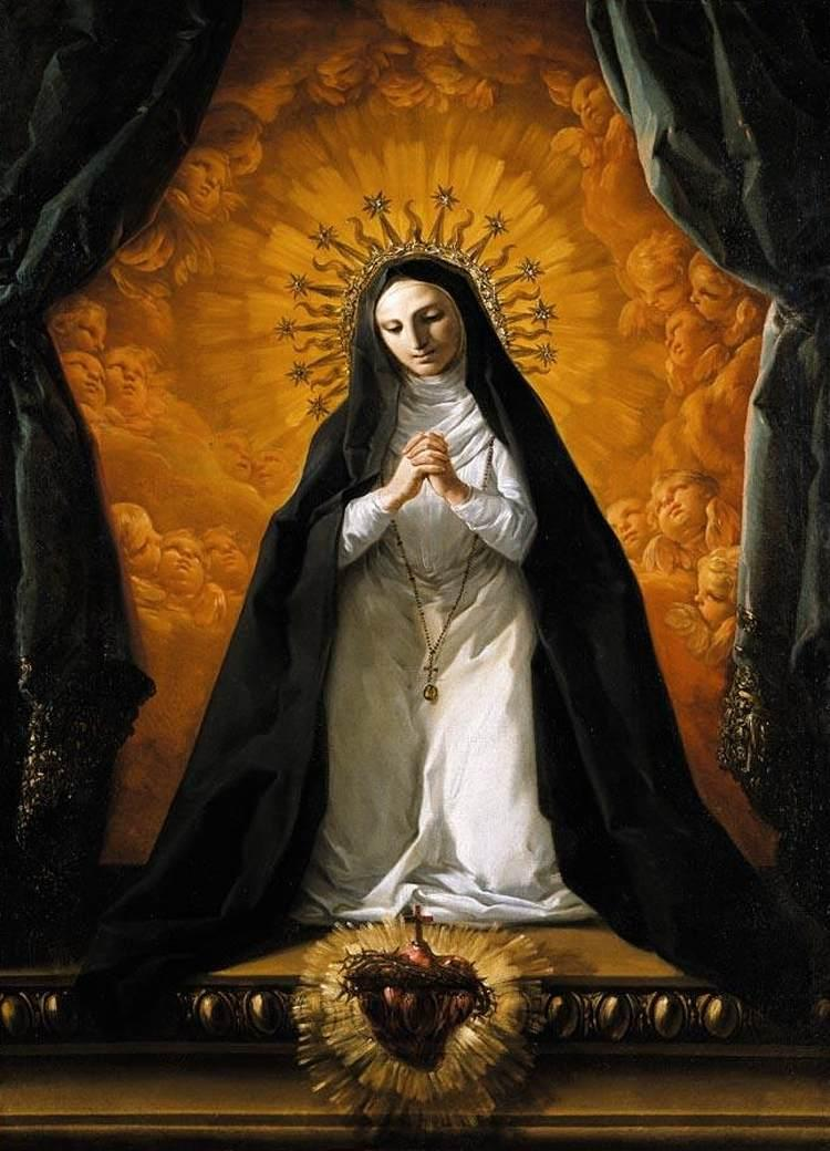 St. Margaret Mary Alacoque Contemplating the Sacred Heart of Jesus