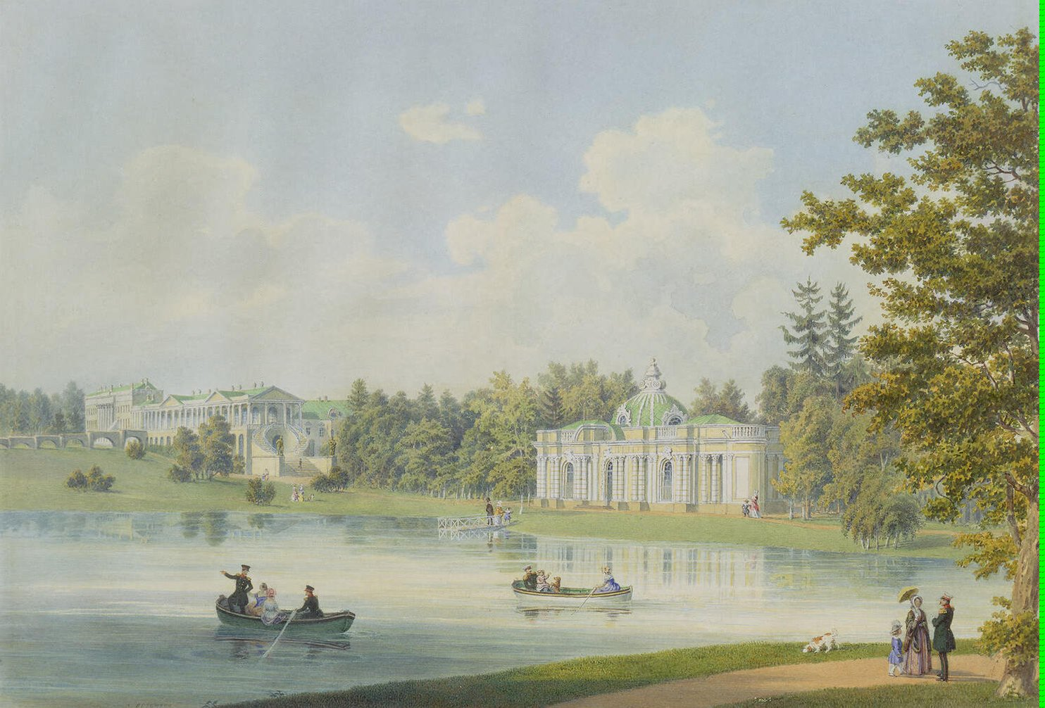 Cameron Gallery and Grotto on the Shore of the Pond in Tsarskoye Selo
