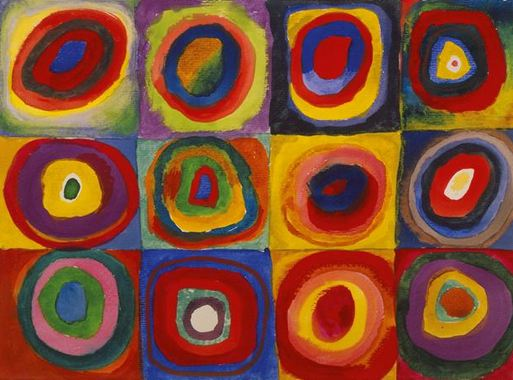 Color Study. Squares with Concentric Circles