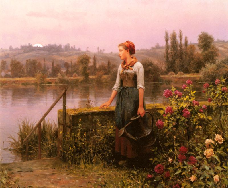 A Woman with a Watering Can by the River