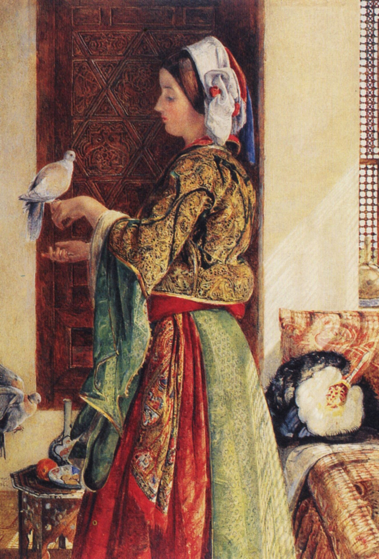 Girl with Two Caged Doves