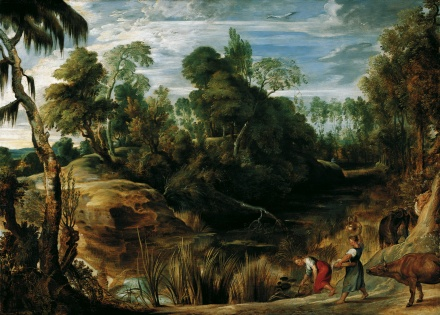 Landscape with Milkmaids and Cows 1616