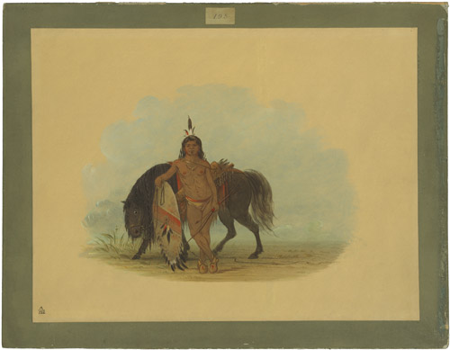 A Cheyenne Warrior Resting His Horse, 1861-1869