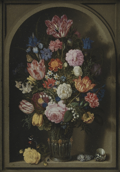 Bouquet of Flowers in a Stone Niche