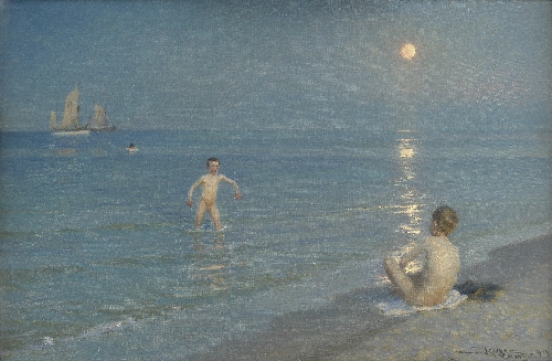 Boys Bathing at Skagen Summer Evening