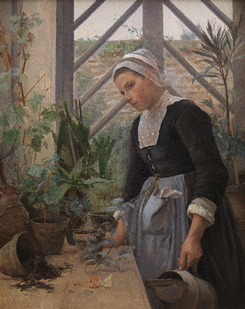Breton Girl Looking After Plants in the Hothouse