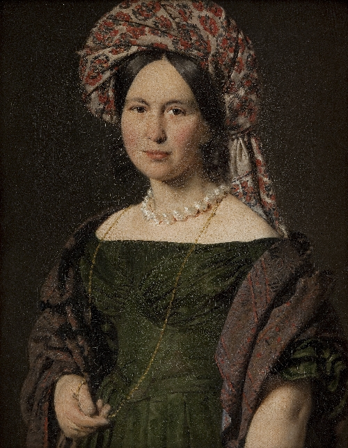 Cathrine Jensen nee Lorenzen the Artists Wife Wearing a Turban