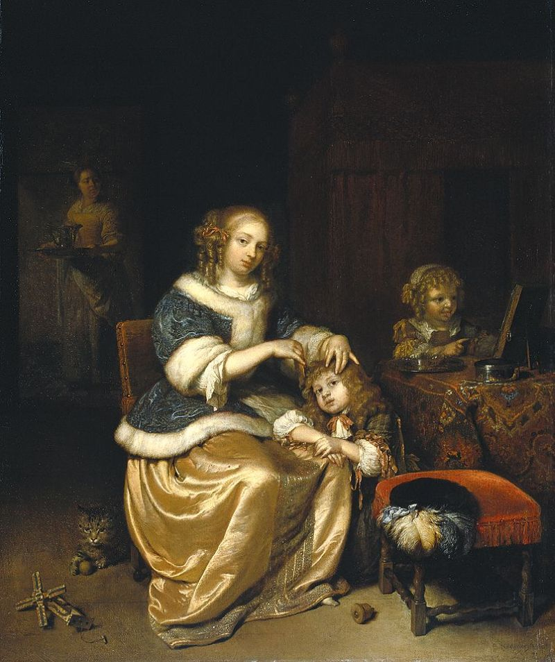 Interior With Mother Combing Hair of Child