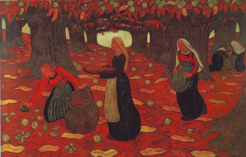 Autumn the chestnut gatherers