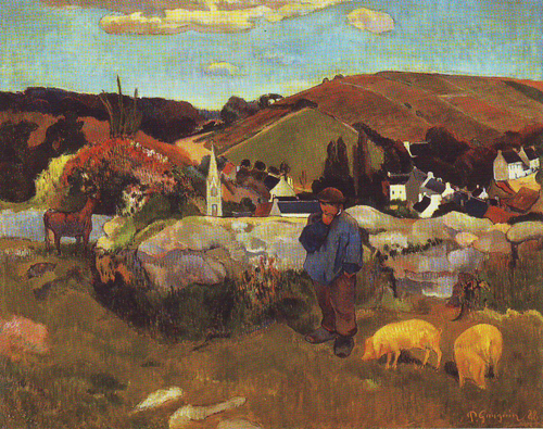 Brittany landscape with a swineherd