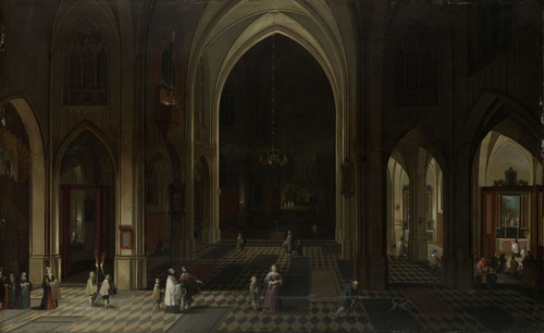 A church interior by candlelight. 1636
