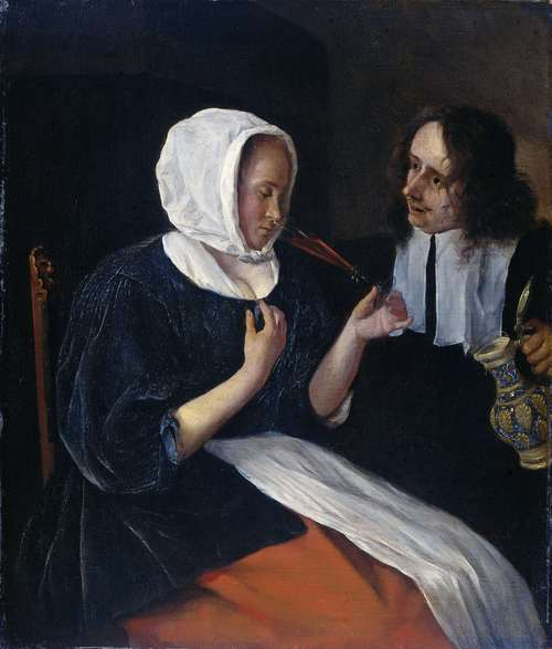 A couple drinking. 1660 - 1679