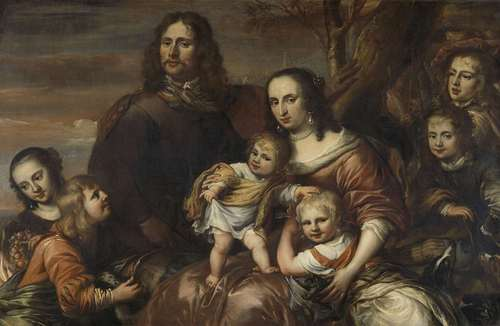 A couple with six children. 1650 - 1678