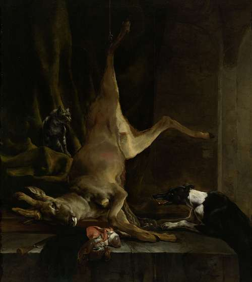 A dog and a cat in a half slaughtered deer. 1645 - 1660