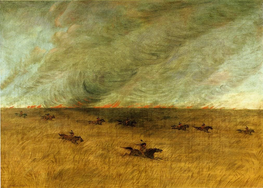 Fire in a Missouri Meadow and a Party of Sioux Indians Escaping from It, Upper Missouri