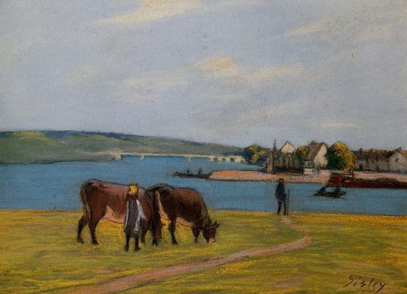 Cows by the Seine at Saint-Mammes