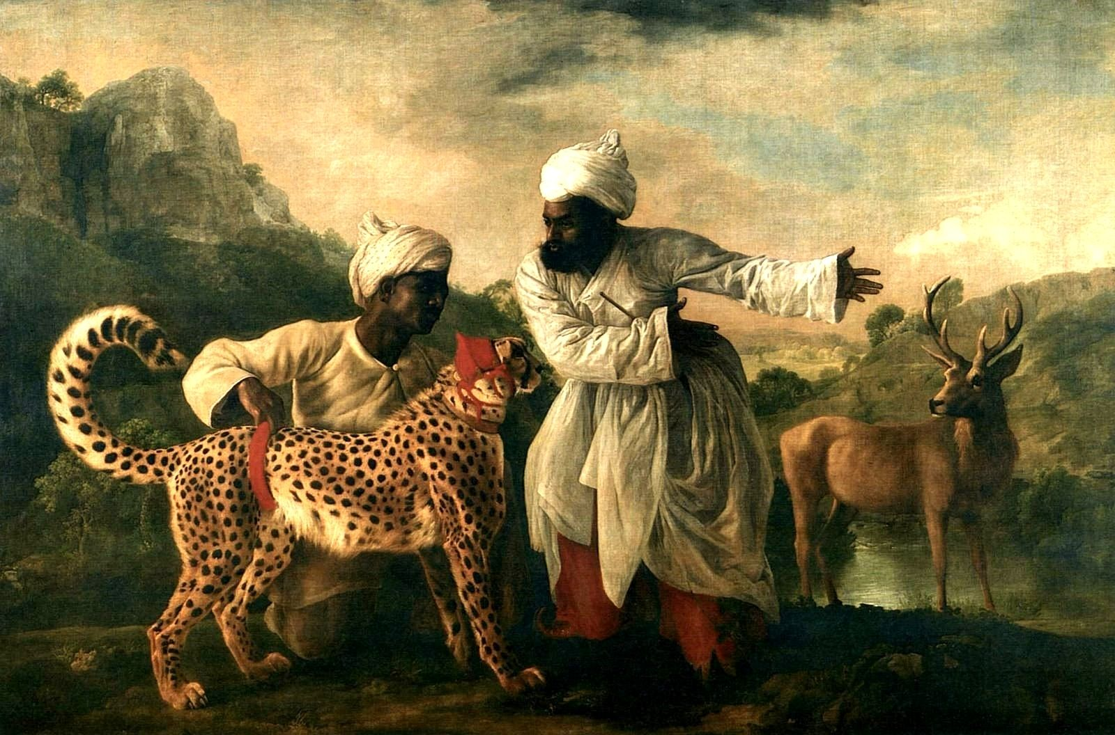 A Cheetah With Two Indian Attendants and a Stag