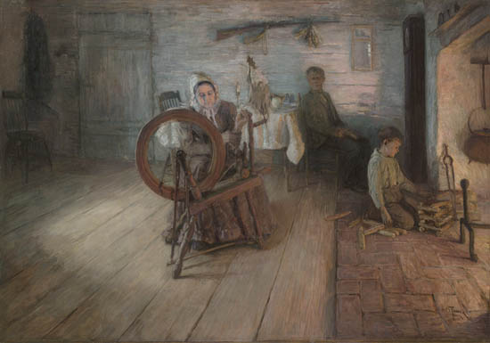 Spinning by Firelight - The Boyhood of George Washington Gray