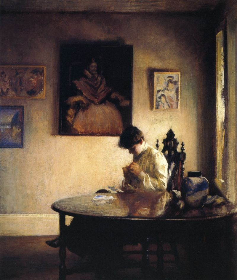 A Girl Crocheting