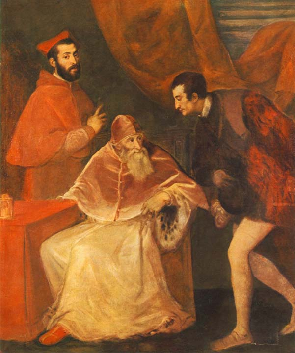 Pope Paul III and his Cousins Alessandro and Ottavio Farnese