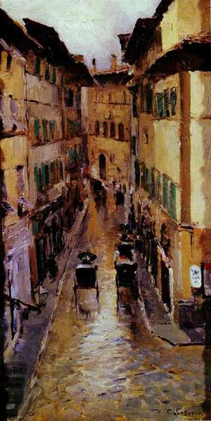 A Florence Street In The Rain 1888
