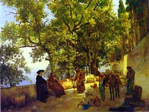 A Terrace On A Seashore A Small Town Of Capuccini Near Sorrento 1827