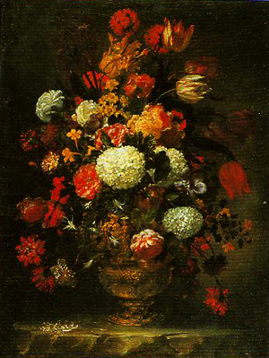 A Vase Decorated in Brouze with Roses Anemones and Narcissi