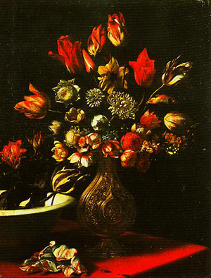A Vase of Flowers and a Basin