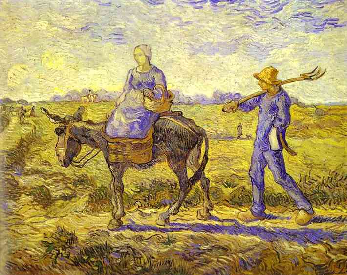 Morning Peasant Couple Going to Work