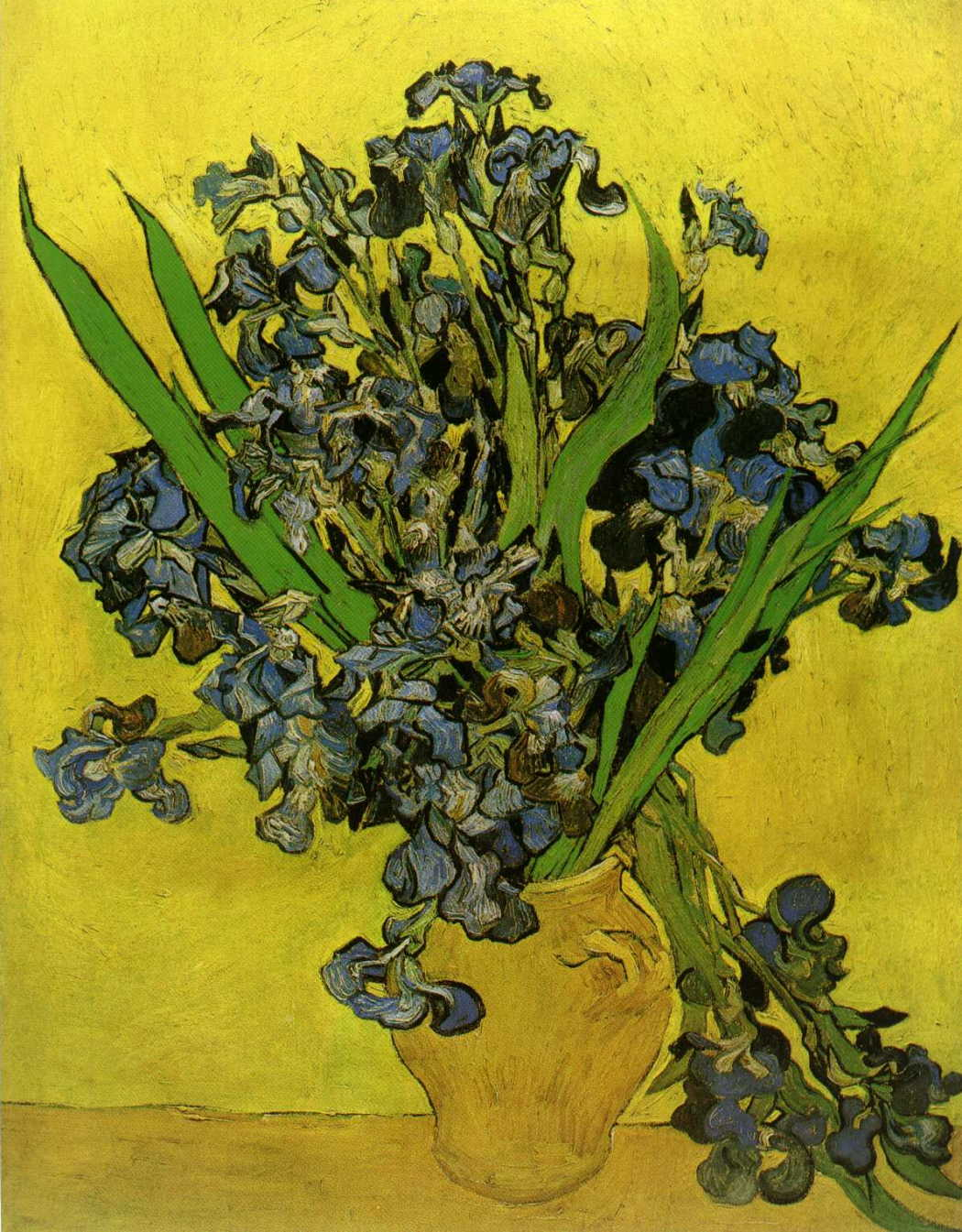 Still Life Vase with Irises Against a Yellow Background
