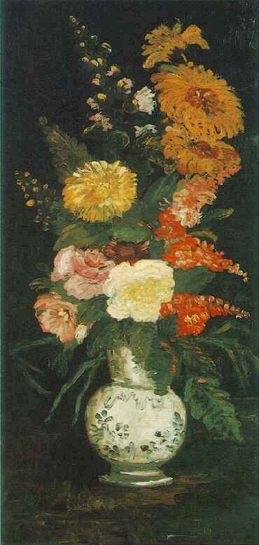 Vase with Asters Salvia and Other Flowers