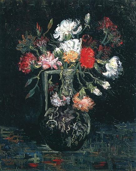 Vase with White and Red Carnations