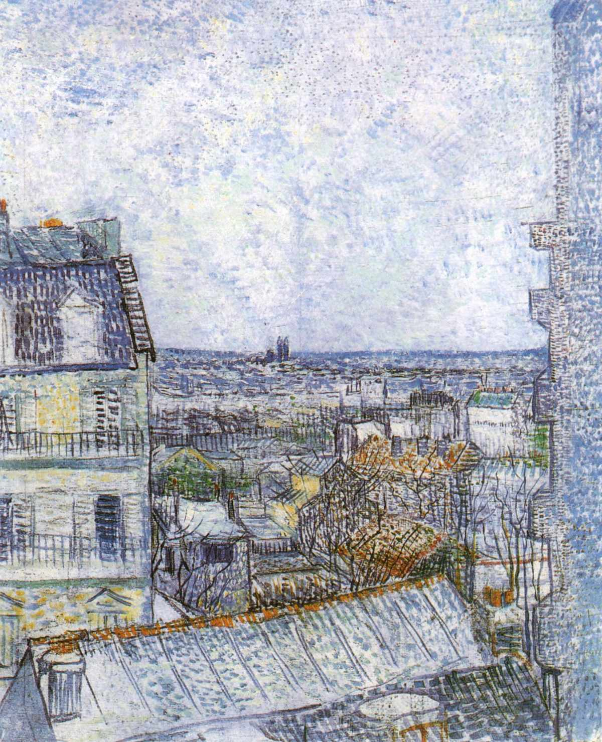 View of Paris from Vincents Room in the Rue Lepic Blue