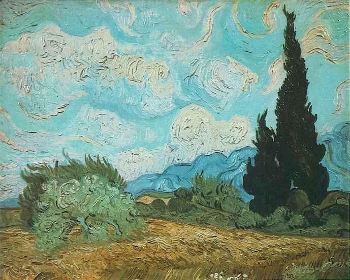 Wheat Field with Cypresses Blue