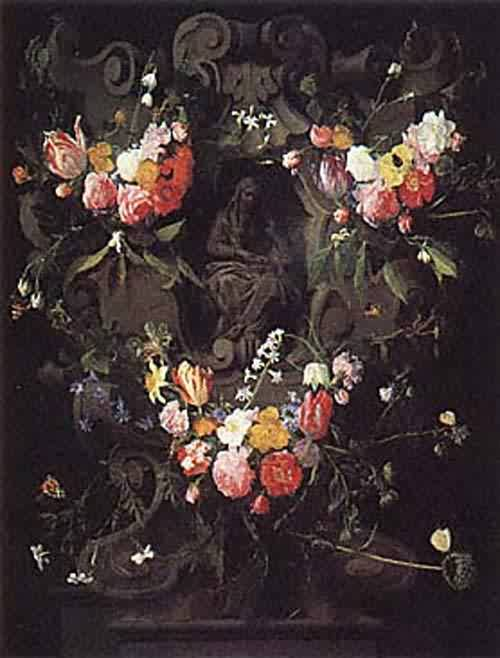 A Garland of Flowers with the Education of the Virgin about 1645